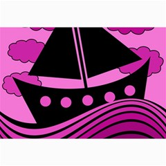 Boat   Magenta Collage Prints by Valentinaart
