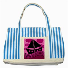 Boat   Magenta Striped Blue Tote Bag by Valentinaart