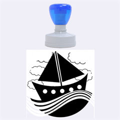 Boat   Magenta Rubber Round Stamps (large) by Valentinaart