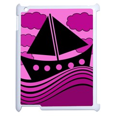 Boat   Magenta Apple Ipad 2 Case (white) by Valentinaart