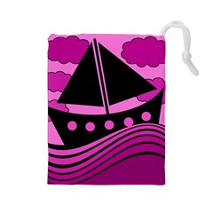Boat   Magenta Drawstring Pouches (large)