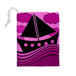 Boat - magenta Drawstring Pouches (Large)  Back