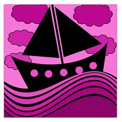 Boat   Magenta Large Satin Scarf (square) by Valentinaart