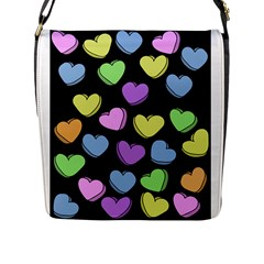Valentine s Hearts Flap Messenger Bag (l)  by BubbSnugg
