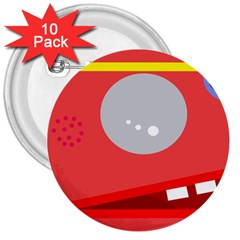 Cute Face 3  Buttons (10 Pack)