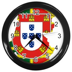 Flag Map Of Portugal Wall Clocks (black) by abbeyz71