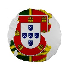 Flag Map Of Portugal Standard 15  Premium Flano Round Cushions