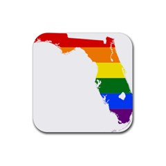 Lgbt Flag Map Of Florida Rubber Coaster (square)  by abbeyz71
