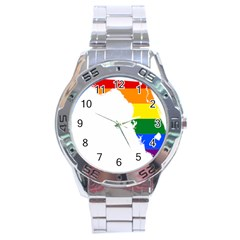 Lgbt Flag Map Of Florida Stainless Steel Analogue Watch by abbeyz71
