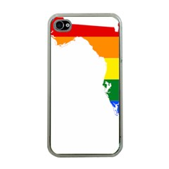 Lgbt Flag Map Of Florida Apple Iphone 4 Case (clear) by abbeyz71