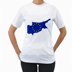 European Flag Map Of Cyprus  Women s T Shirt (white) (two Sided)