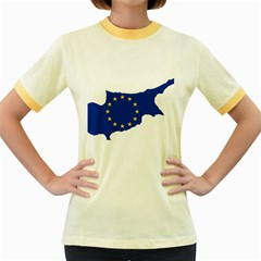European Flag Map Of Cyprus  Women s Fitted Ringer T Shirts