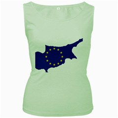 European Flag Map Of Cyprus  Women s Green Tank Top