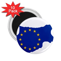 European Flag Map Of Cyprus  2 25  Magnets (10 Pack)