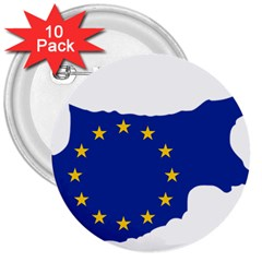 European Flag Map Of Cyprus  3  Buttons (10 Pack)