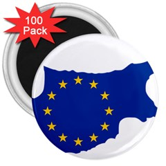 European Flag Map Of Cyprus  3  Magnets (100 Pack)