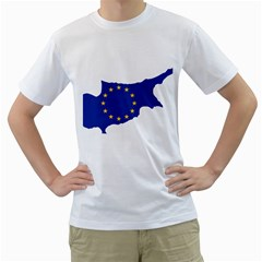 European Flag Map Of Cyprus  Men s T Shirt (white) (two Sided)