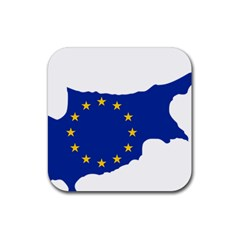 European Flag Map Of Cyprus  Rubber Coaster (square)