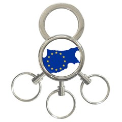 European Flag Map Of Cyprus  3 Ring Key Chains