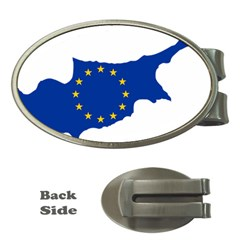 European Flag Map Of Cyprus  Money Clips (oval)