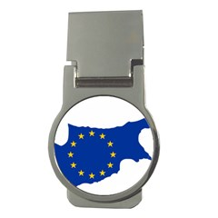 European Flag Map Of Cyprus  Money Clips (round)