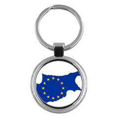 European Flag Map Of Cyprus  Key Chains (round)