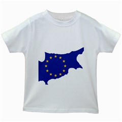 European Flag Map Of Cyprus  Kids White T Shirts