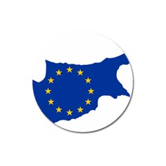 European Flag Map Of Cyprus  Magnet 3  (round)