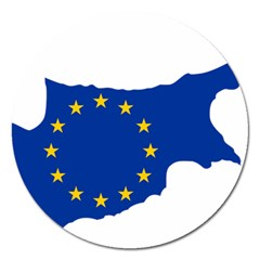 European Flag Map Of Cyprus  Magnet 5  (round)