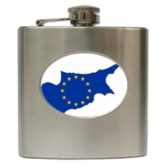 European Flag Map Of Cyprus  Hip Flask (6 Oz)