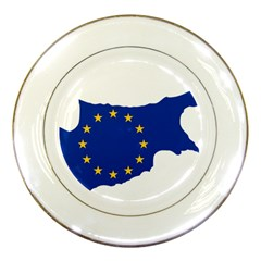 European Flag Map Of Cyprus  Porcelain Plates
