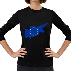European Flag Map Of Cyprus  Women s Long Sleeve Dark T Shirts