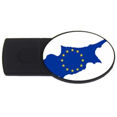 European Flag Map Of Cyprus  Usb Flash Drive Oval (4 Gb)