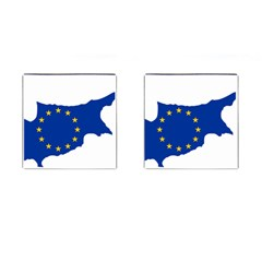 European Flag Map Of Cyprus  Cufflinks (square)