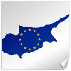 European Flag Map Of Cyprus  Canvas 12  X 12