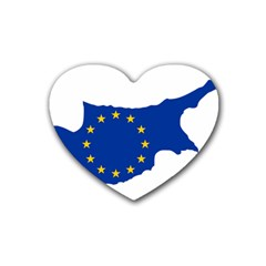 European Flag Map Of Cyprus  Heart Coaster (4 Pack)