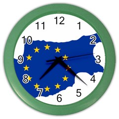 European Flag Map Of Cyprus  Color Wall Clocks