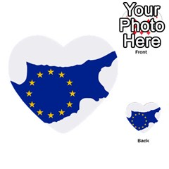 European Flag Map Of Cyprus  Multi Purpose Cards (heart)