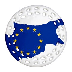 European Flag Map Of Cyprus  Round Filigree Ornament (2side)