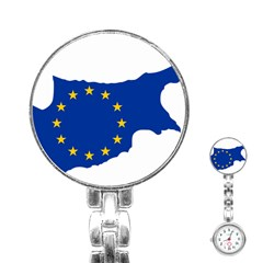 European Flag Map Of Cyprus  Stainless Steel Nurses Watch
