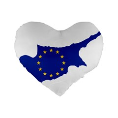 European Flag Map Of Cyprus  Standard 16  Premium Flano Heart Shape Cushions