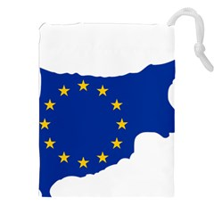 European Flag Map Of Cyprus  Drawstring Pouches (xxl)