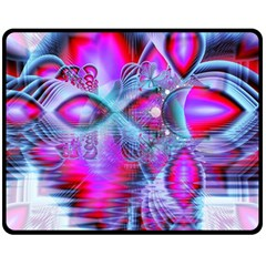 Crystal Northern Lights Palace, Abstract Ice  Double Sided Fleece Blanket (medium)  by DianeClancy
