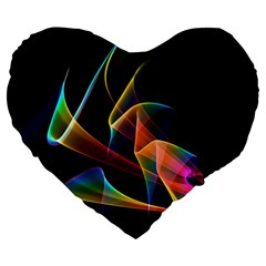 Crystal Rainbow, Abstract Winds Of Love  Large 19  Premium Flano Heart Shape Cushions by DianeClancy