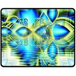 Crystal Lime Turquoise Heart Of Love, Abstract Double Sided Fleece Blanket (Medium)  58.8 x47.4 Blanket Back