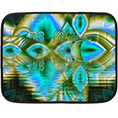 Crystal Gold Peacock, Abstract Mystical Lake Double Sided Fleece Blanket (mini)  by DianeClancy