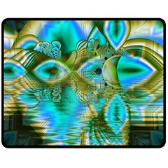 Crystal Gold Peacock, Abstract Mystical Lake Fleece Blanket (medium)  by DianeClancy