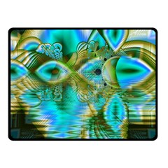 Crystal Gold Peacock, Abstract Mystical Lake Fleece Blanket (small) by DianeClancy