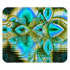 Crystal Gold Peacock, Abstract Mystical Lake Double Sided Flano Blanket (small)  by DianeClancy