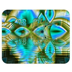 Crystal Gold Peacock, Abstract Mystical Lake Double Sided Flano Blanket (medium)  by DianeClancy